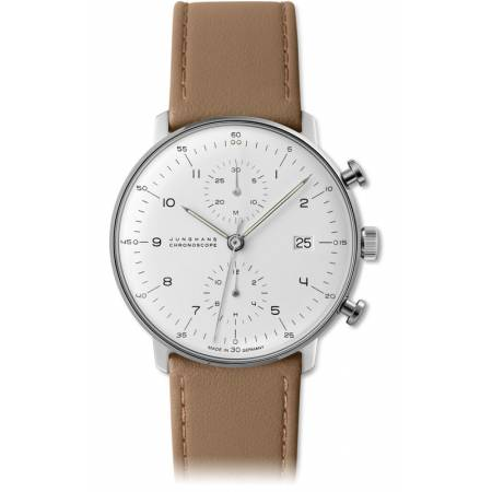 Junghans MAX BILL 40 Chronoscope, Automatik Numbers weiss Leder_4611