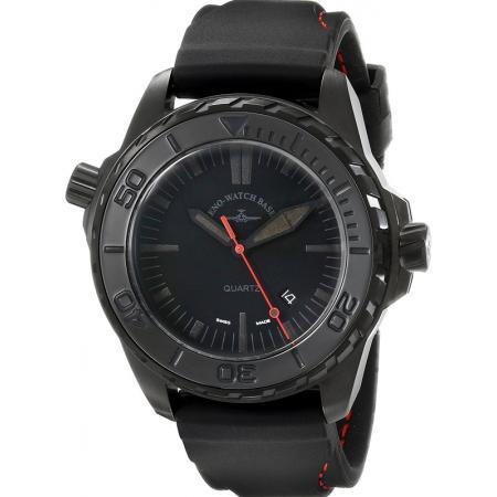 ZENO-WATCH BASEL, Pro Diver II, XL Quartz Taucheruhr schwarz-rot