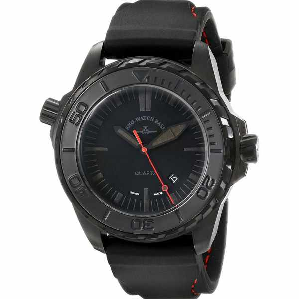 ZENO-WATCH BASEL, Pro Diver II, XL Quartz Taucheruhr schwarz-rot_4622