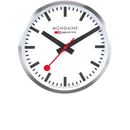 MONDAINE, Wall Clock 40cm, SBB Bahnhofswanduhr, Hybrid Sweep Silent