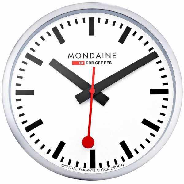 MONDAINE, Wall Clock 25cm, original SBB Bahnhofswanduhr, silber/weiss_4635