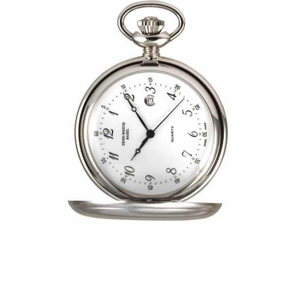 Klassik Taschenuhr Quartz, chromé Datum_4781