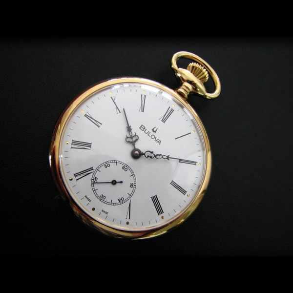 Klassik Taschenuhr Handaufzug, Bulova Louis XVI vergoldet_4822