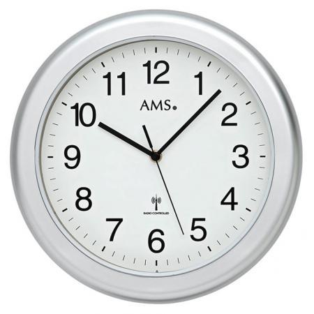 AMS, Baduhr Funkwanduhr, grau/weiss_4826