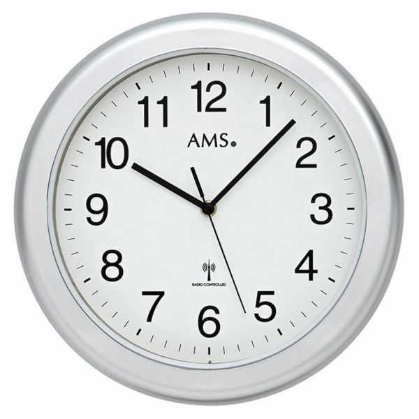 AMS Funkwanduhr, Bad-/Saunauhr grau/weiss_4826