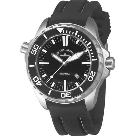 ZENO-WATCH BASEL, Pro Diver II, XL Quartz Taucheruhr schwarz-weiss