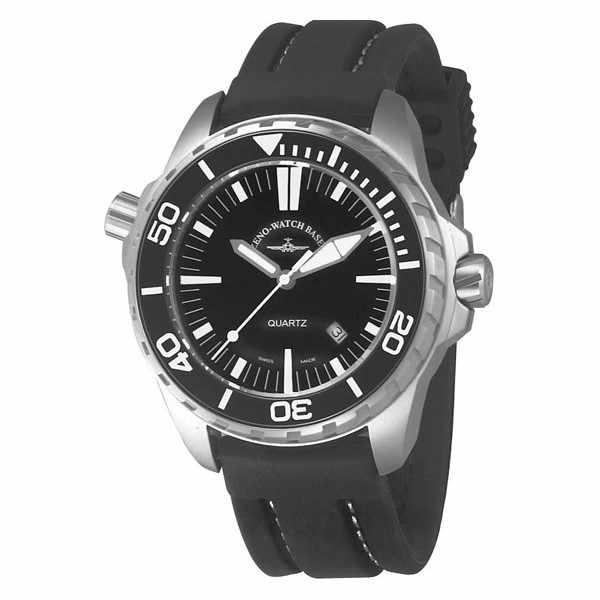 ZENO-WATCH BASEL, Pro Diver II, XL Quartz Taucheruhr schwarz-weiss_5052