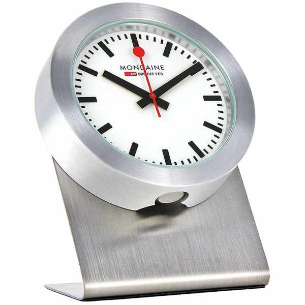 MONDAINE, Magnet Clock Quartz, kleine SBB Bahnhofs Tischuhr_5220