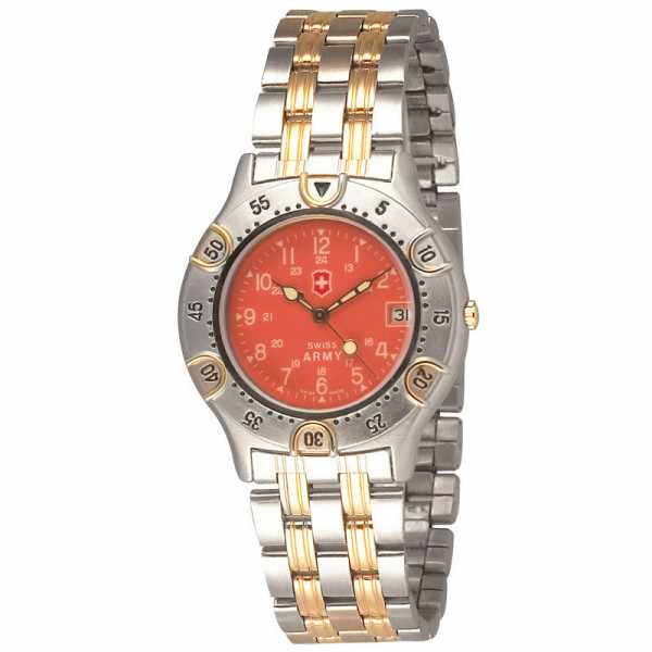 SWISS ARMY, Fourrier, Quartzuhr, teilvergoldet, orange_5235