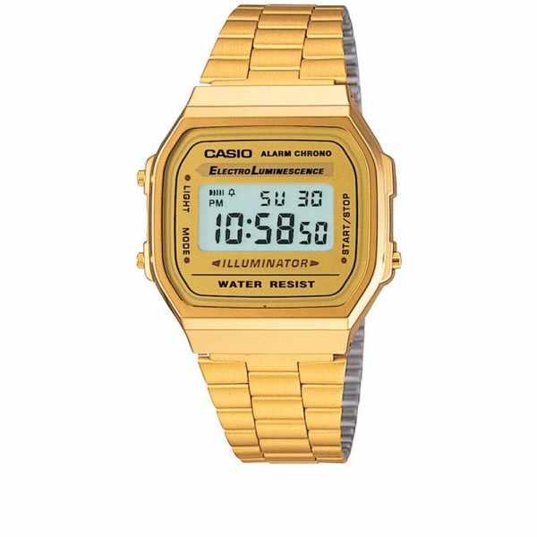 CASIO Retro LCD, Illuminator, Digitaluhr, gold_5344