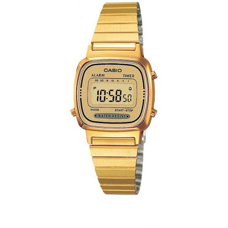 CASIO Retro LCD, WEGA LADY, Digitaluhr, gold_5347