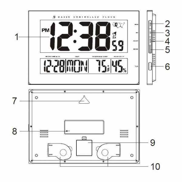 AMS Digital XXL LCD Funk Tisch-Wanduhr schwarz_5387