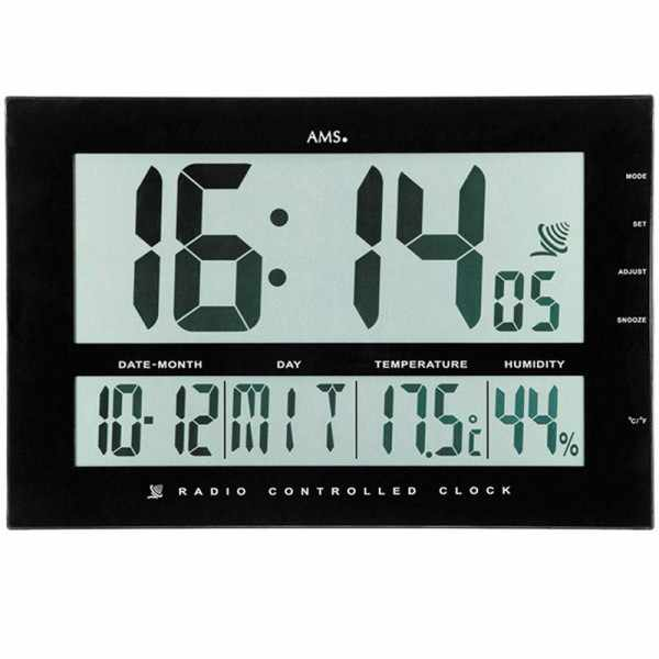 AMS Digital XXL LCD Funk Tisch-Wanduhr schwarz_5388