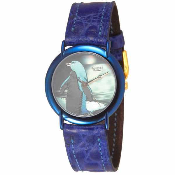 ZENO, Pinguin Hologramm, Quartzuhr, blau_5409