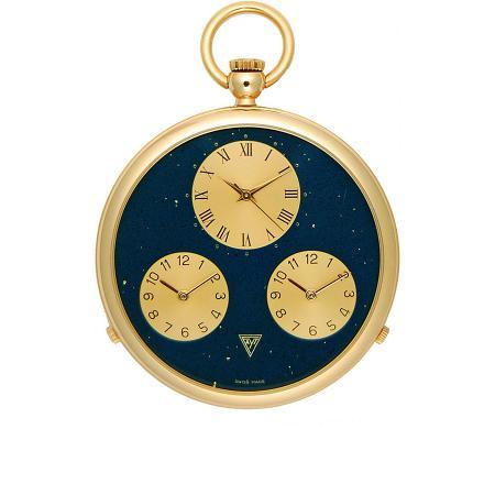 3 Zeitenuhr, Taschenuhr, Quartz, vergoldet