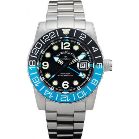 ZENO-WATCH BASEL, Airplane Diver, XL Taucheruhr GMT, blau MB