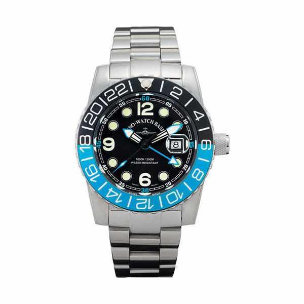 ZENO-WATCH BASEL, Airplane Diver, XL Taucheruhr GMT Quartz, blau MB_5414