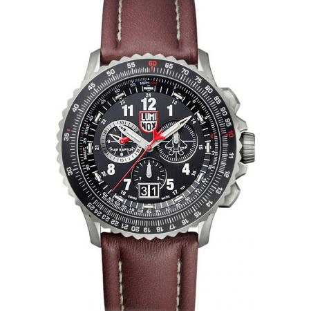 LUMINOX, Air, F-22 Raptor Chronograph, Titan, Lederband
