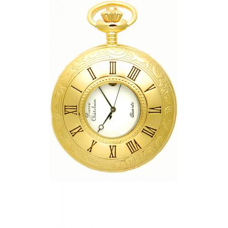 Klassik Taschenuhr Quartz, Demisavonette gold_5594