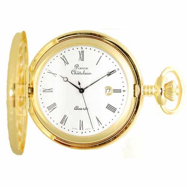 Klassik Taschenuhr Quartz, Demisavonette gold_5596