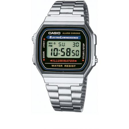 CASIO, Retro, LCD, Illuminator, Digitaluhr, silber