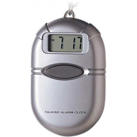 TALKING CLOCK sprechende LCD Uhr mit Reisewecker und Schlüsselanhänger_5667