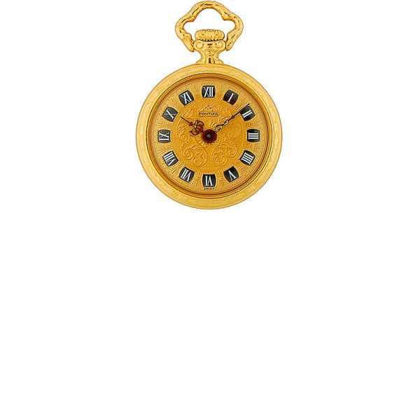 Vintage Anhängeuhr De Luxe Handaufzug, Gold_5675