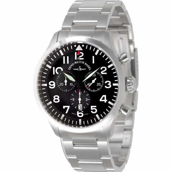 ZENO-WATCH BASEL, Pilot Navigator, Quartz Flieger Chrono, Edelstahl_5860