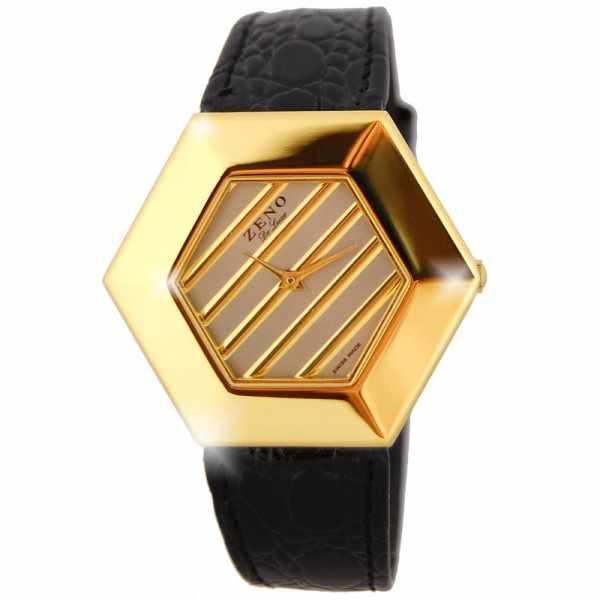 ZENO, Hexagon, grosse Quartz Damenuhr, vergoldet, schwarz_5951