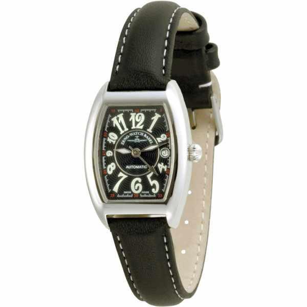 ZENO-WATCH BASEL, Tonneau Lady, Automatik Uhr, Art-Déco, schwarz_5978