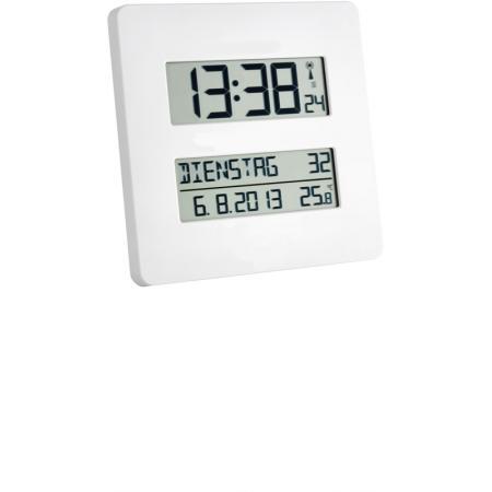 TFA, LCD Funk Tisch-Wanduhr mit ausgeschriebenem Wochentag
