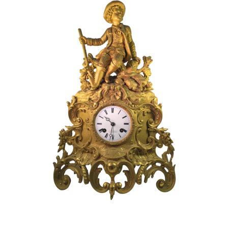 _ANTIK mechanische Empire Tischuhr mit Jäger, ca. 1820_6015