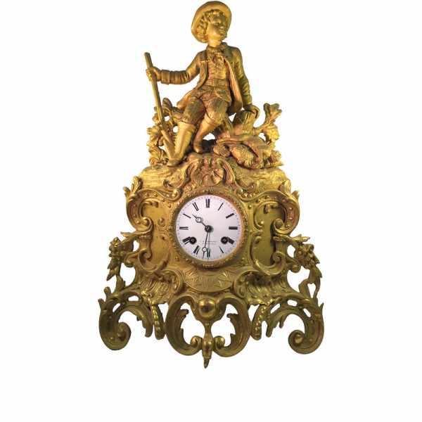 ANTIK mechanische Empire Tischuhr mit Jäger, ca. 1820_6015