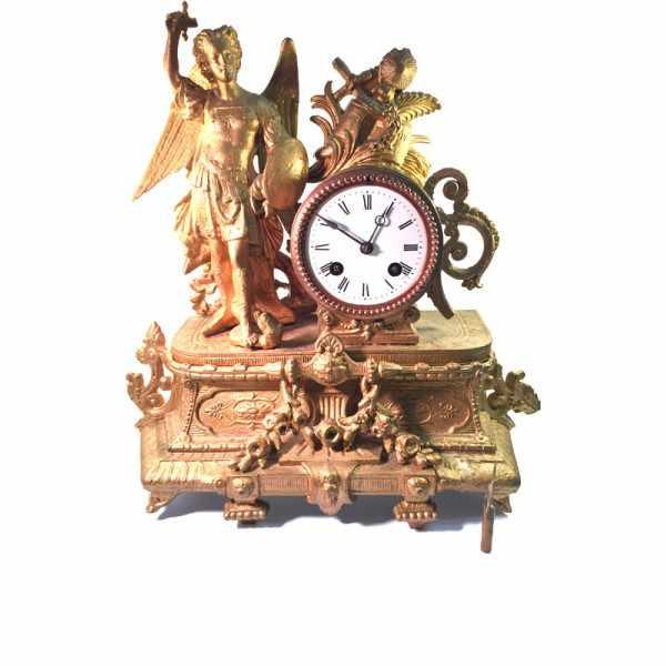 ANTIK, mechanische Empire Tischuhr mit Engel, ca. 1820_6016