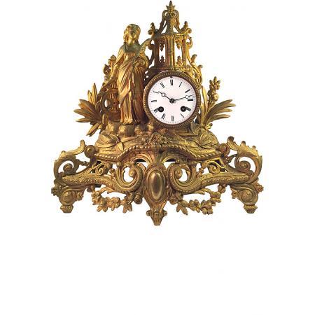 ANTIK mechanische Empire Tischuhr mit Frau und Mühlrad, ca. 1820_6018