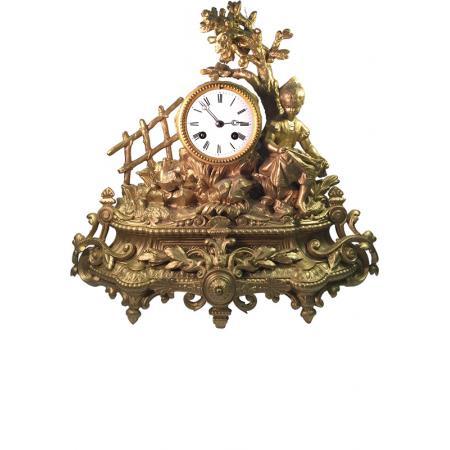 _ANTIK mechanische Empire Tischuhr mit Mädchen ca. 1830_6019
