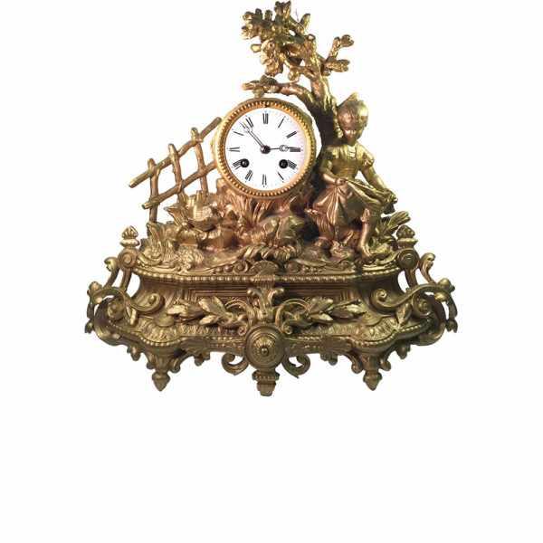 ANTIK mechanische Empire Tischuhr mit Mädchen ca. 1830_6019