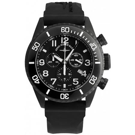 ZENO-WATCH BASEL, Diver Ceramic Chrono Quartz, Stahl schwarz