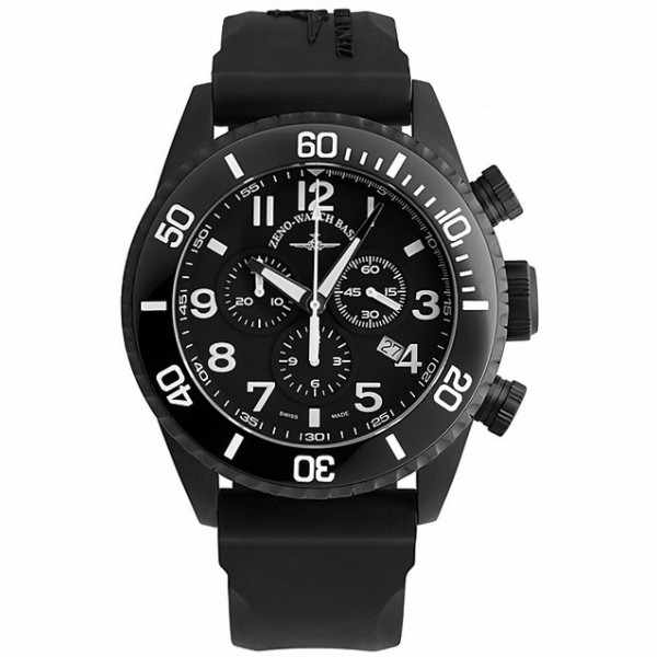 ZENO-WATCH BASEL, Diver Ceramic Chrono Quartz, Stahl schwarz_6022