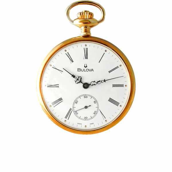 Klassik Taschenuhr Handaufzug, Bulova Louis XVI vergoldet_6065