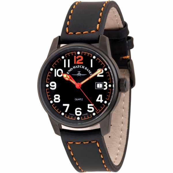 ZENO-WATCH BASEL, Pilot Classic, Fliegeruhr schwarz/orange_6091