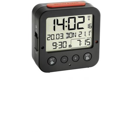 TFA, Bingo Nachtlicht, Funkwecker, Thermometer und 2 Alarme, schwarz_6119