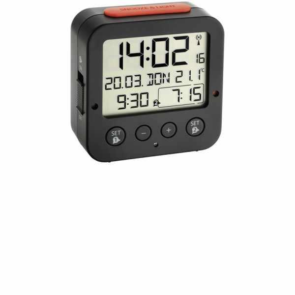 TFA Bingo Nachtlicht, Funkwecker Thermometer + 2 Alarme, schwarz_6119
