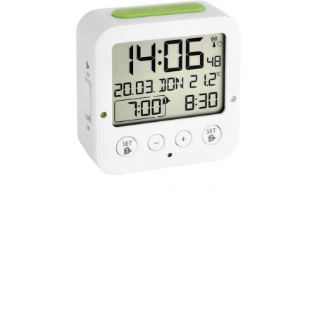 TFA Bingo Nachtlicht, Funkwecker Thermometer + 2 Alarme, weiss