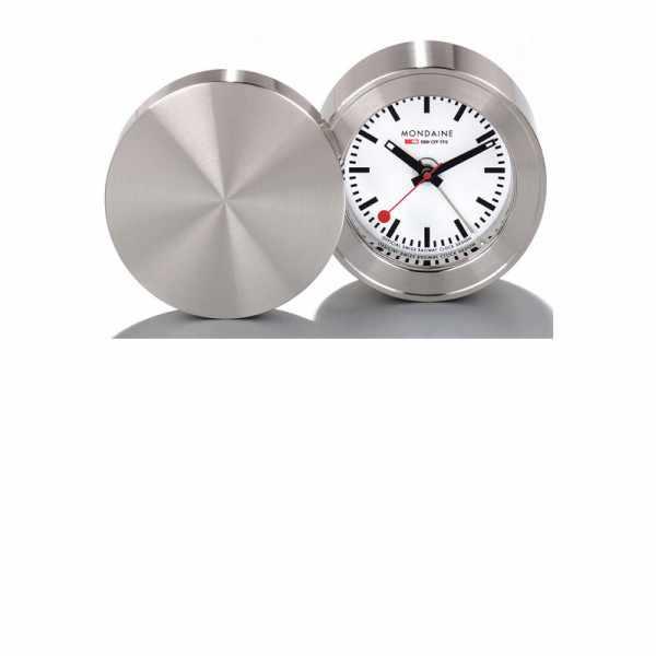 MONDAINE, Alarm Clock, Travel Alarm, Reisewecker, SBB Bahnhofsuhr_6153