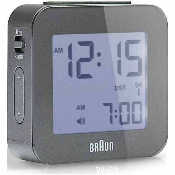 BRAUN, Global, LCD digital, Funkwecker, klein grau_6166