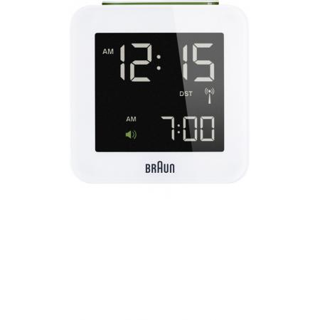 BRAUN Funkwecker Global LCD digital, gross weiss