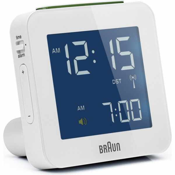 BRAUN, Global, LCD digital, Funkwecker, gross weiss_6178
