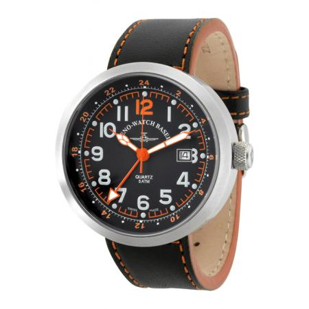 ZENO-WATCH BASEL, Pilot Rondo Quartz Fliegeruhr, GMT Stahl orange