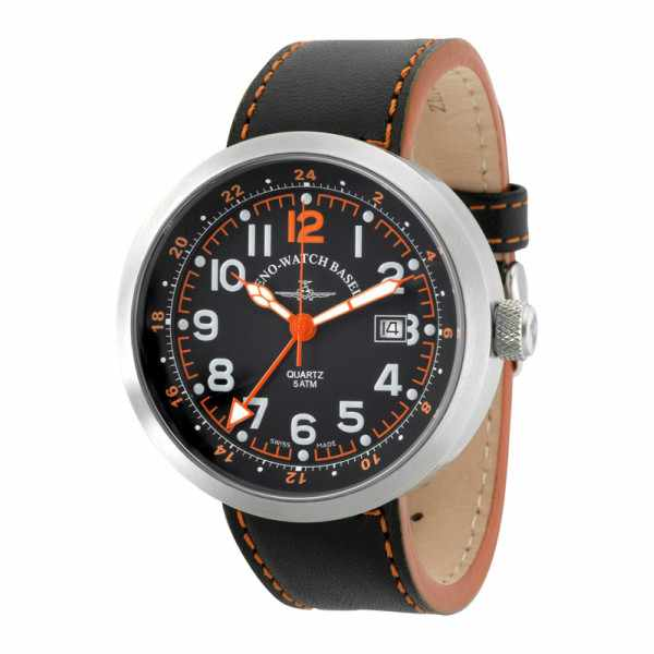 ZENO-WATCH BASEL, Pilot Rondo Quartz Fliegeruhr, GMT Stahl orange_6243